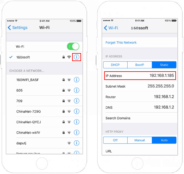 Find IP address in iPhone/iPad