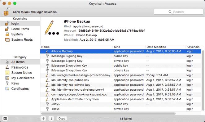 access keychain passwords on mac