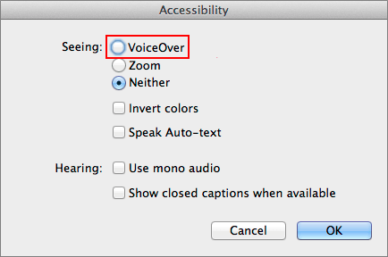 Turn on/off VoiceOver with iTunes