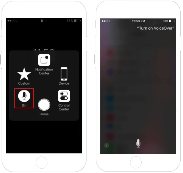 Turn on VoiceOver with Siri