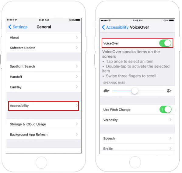 Turn on VoiceOver in Settings app