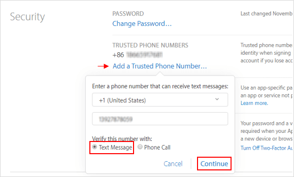 Add a trusted phone number