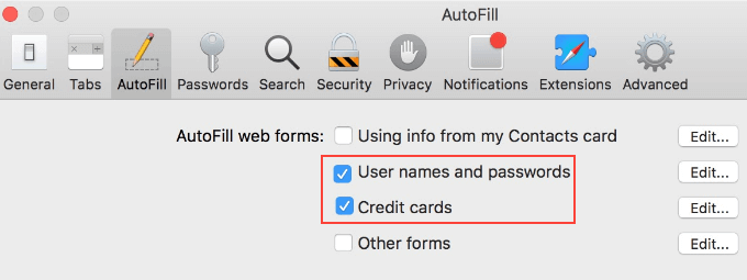 Select User names and passwords