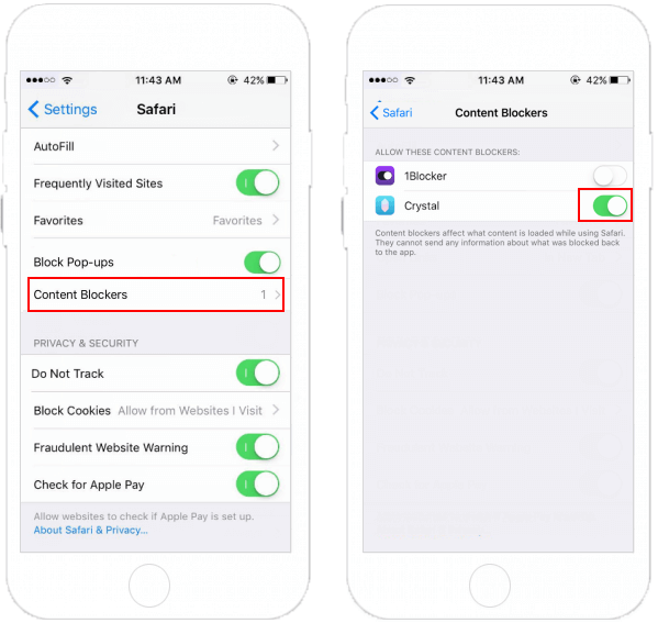Enable Content Blocker Extensions for Safari in iPhone