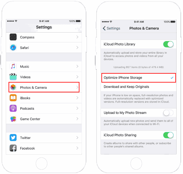 Enable optimize storage for iCloud Photo Library