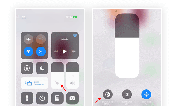 Enable or Disable Dark Mode from Control Center