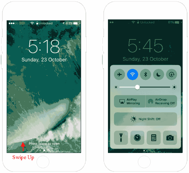 Access Control Center from Lock Screen