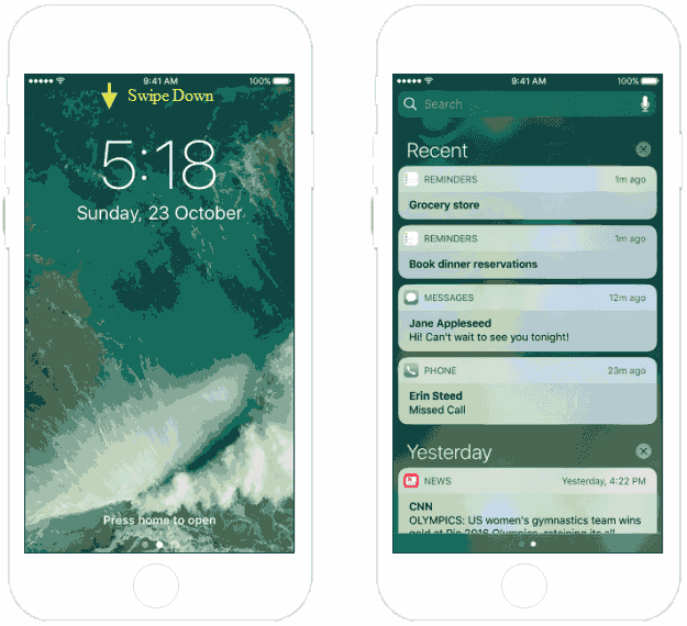 Access Notification Center from Lock Screen