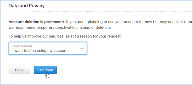 choose the reason for deleting your account