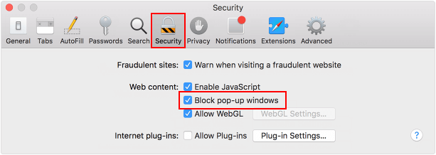 Enable block pop-up