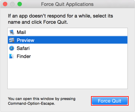 Force close an app in Mac