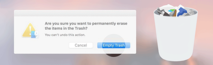 Delete items in trash can