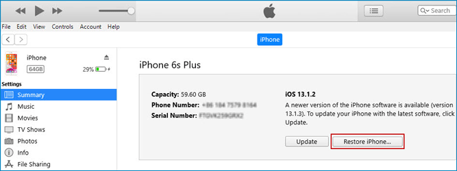 restore iPhone using iTunes