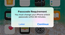 iphone passcode requirement popup