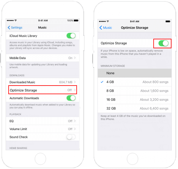 Enable Optimize Storage for Apple Music