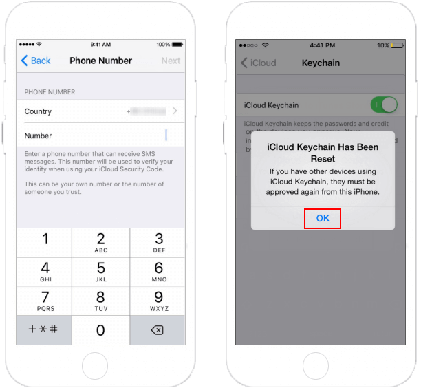 recover icloud keychain security code