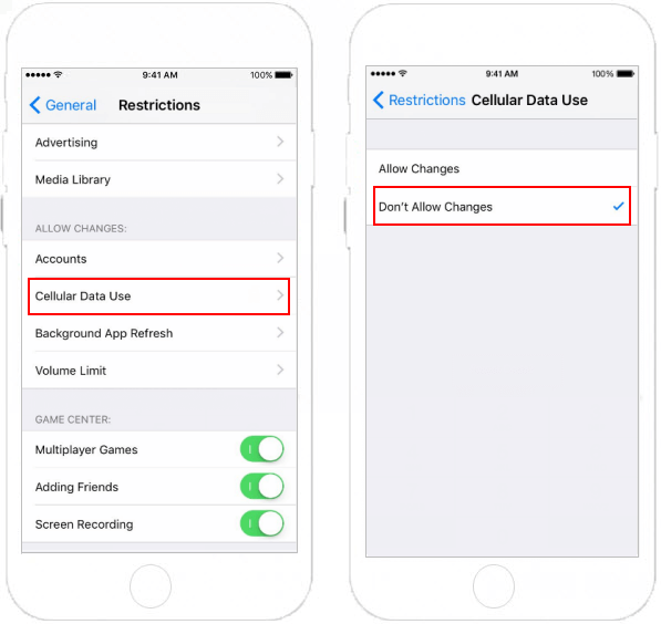 Disallow change cellular data use