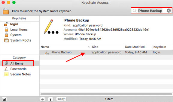 Find iPhone Backup password