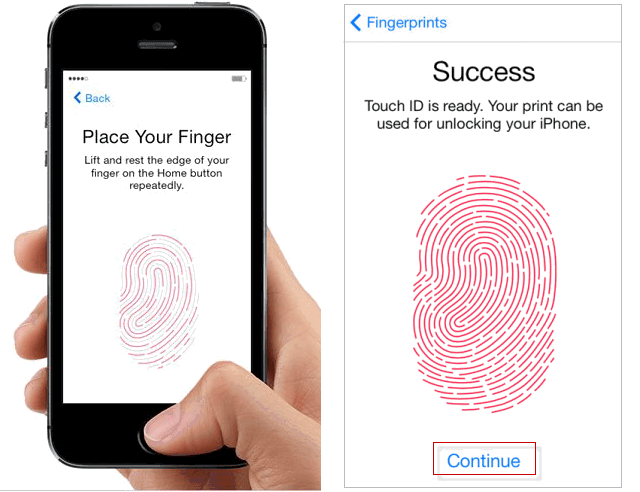 Set up the touch id fingerprint scanner