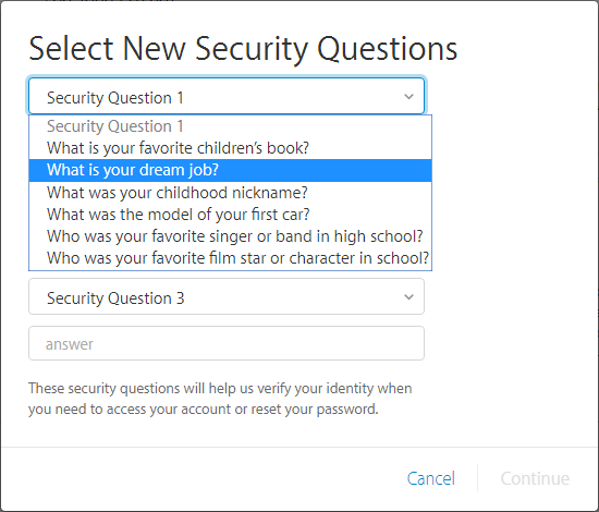 Create new securuty questions