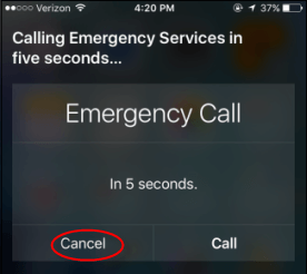 Cancel the emergency call