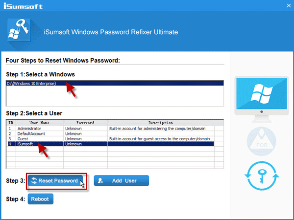 Click on Reset Password button