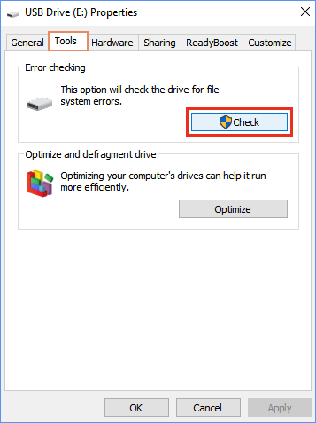 Check drive for file's error