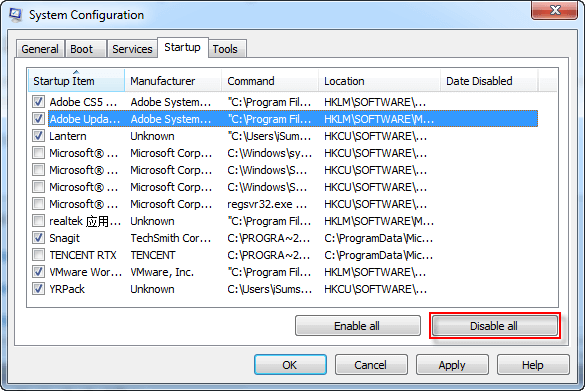 Prevent programs from starting automatically in Windows