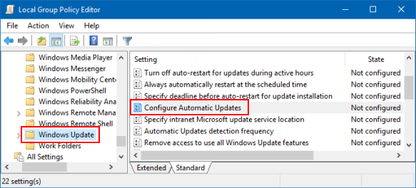 windows disable automatic updates