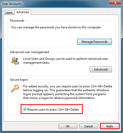Enable or disable secure logon