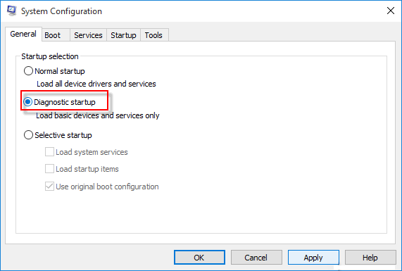 Enable Diagnostic Start mode