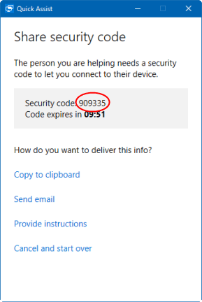 Share security code