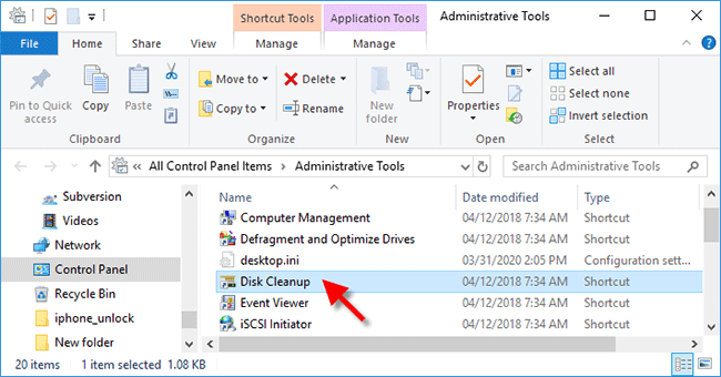 double click Disk Cleanup