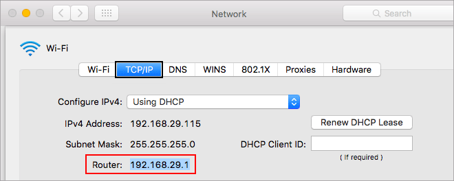 Find router IP address in Mac