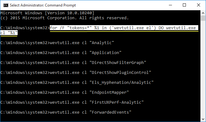 Clear all the Event Viewer log in Command Prompt