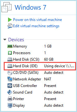 New hard disk in the list