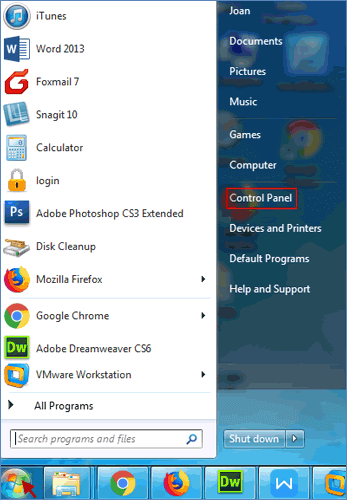 click start menu and choose control panel
