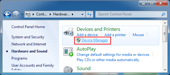 Access to Device Manager