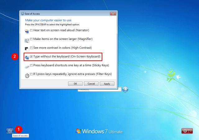 how to get on screen keyboard windows 7 login