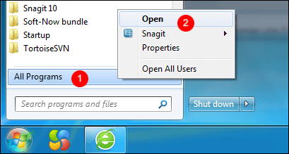Open the Start menu folder