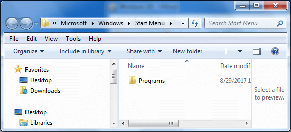 Access to the Start menu folder in Windows 7