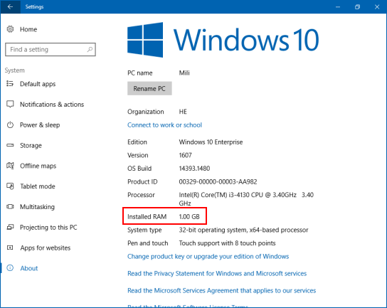 how much ram for windows 10