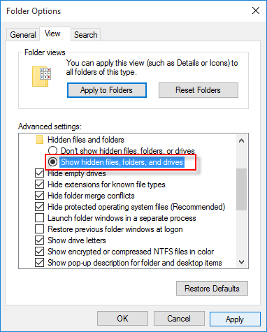 Show the hidden files and folders