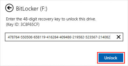 Enter in recovery key