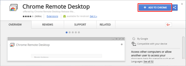 Download the Chrome Remote Desktop