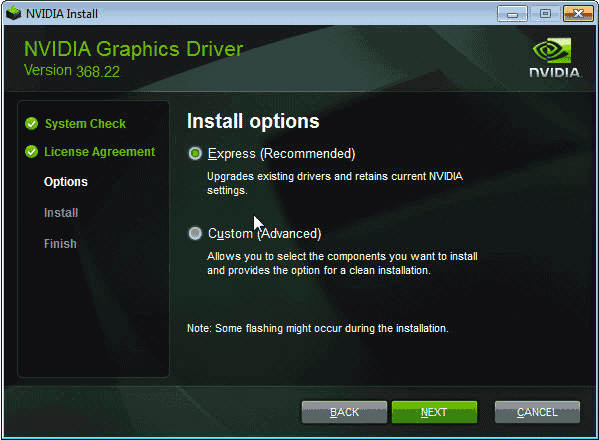 Select Install Options