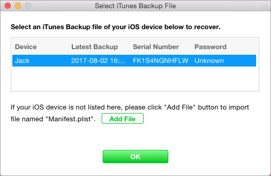 select itunes backup file