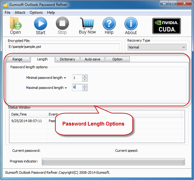 password length options