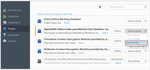 Disable Plugins for Firefox