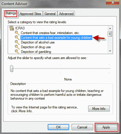 How to Enable Content Advisor in Internet Explorer 10/11